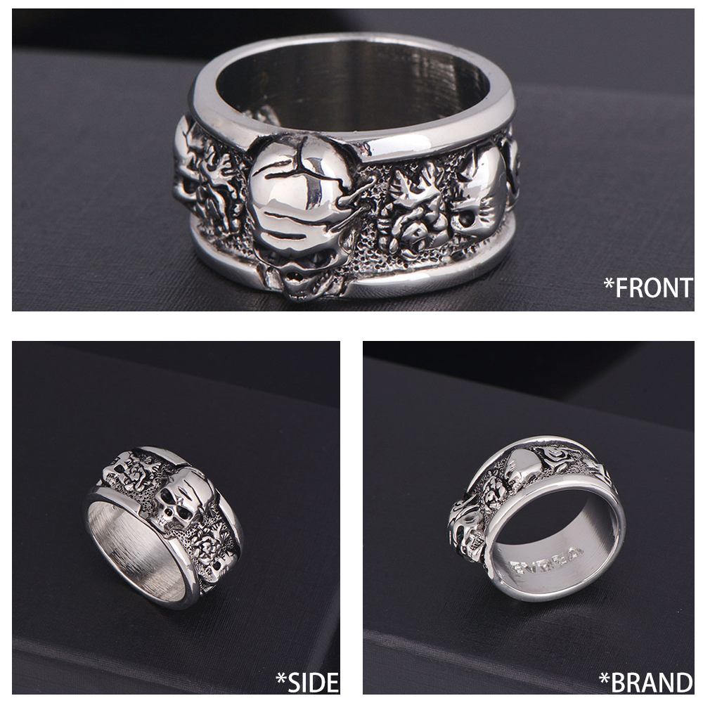 EVBEA Viking Rock Roll Kpop Silver Gothic Punk Skull Rings Old Wrinkle Rotating Bikers Bible Men 39 s amp Boys 39 Jewelry in Rings from Jewelry amp Accessories