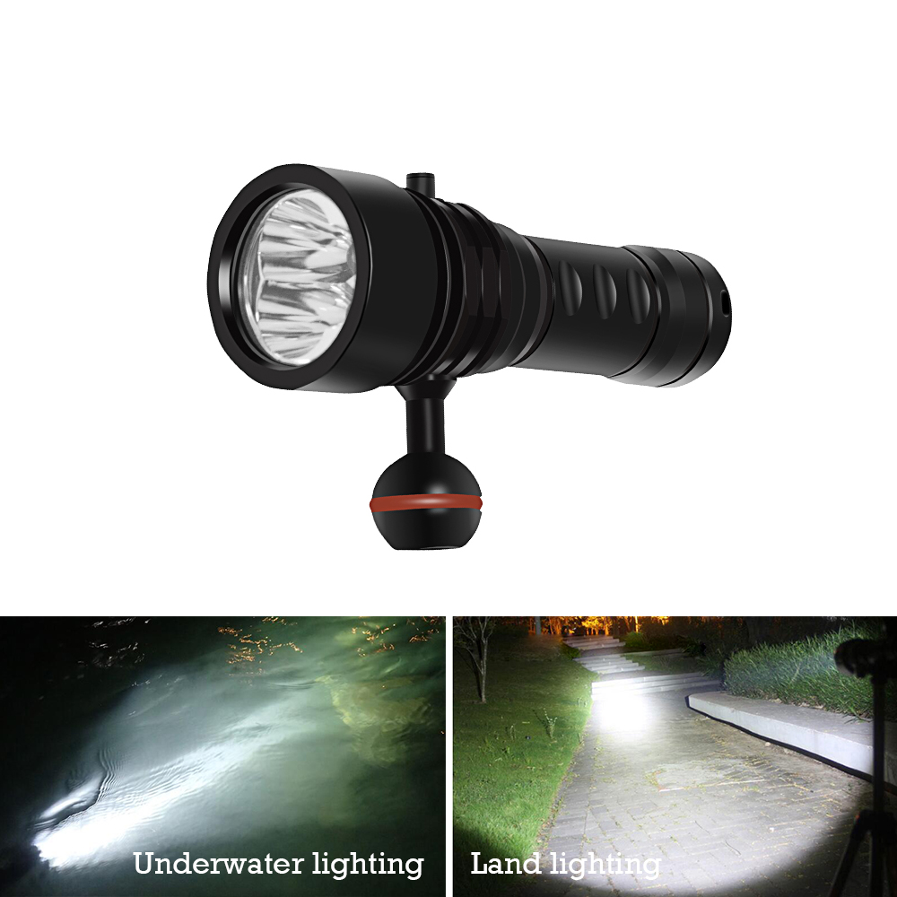 underwater light 100m Scuba Video lamp Professional Diving flashlight lanterna 3led waterproof torch 26650 underwater fill