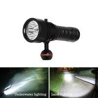 underwater light 100m Scuba Video lamp Professional Diving flashlight lanterna 3led waterproof torch 26650 underwater fill light