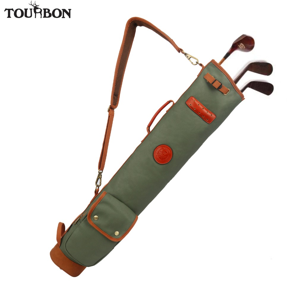 Tourbon Outdoor Vintage Golf Bag Clubs Carrier Pencil Style Waxed Canvas Leather Fleece Padded Club Cover