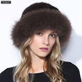 Women Rushed Limited Adult Solid New Fur Hats For Winter Genuine Mink Cap With Fox Pom Poms Knitted Beanies 2016 Sale