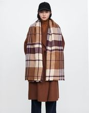 MIARA.L 2018 new female coffee color plaid trimming cashmere double-sided scarf thick warm shawl warrm for fashion ladies