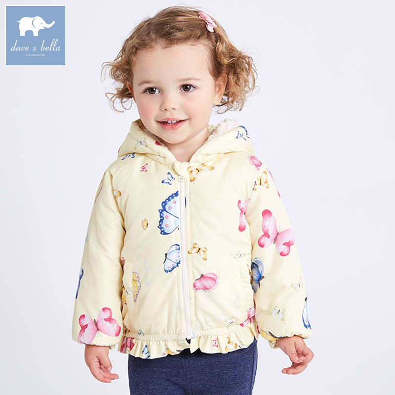 DB6981 dave bella spring baby girls hooded coat kids Butterfly toddler kids high quality lovely clothes