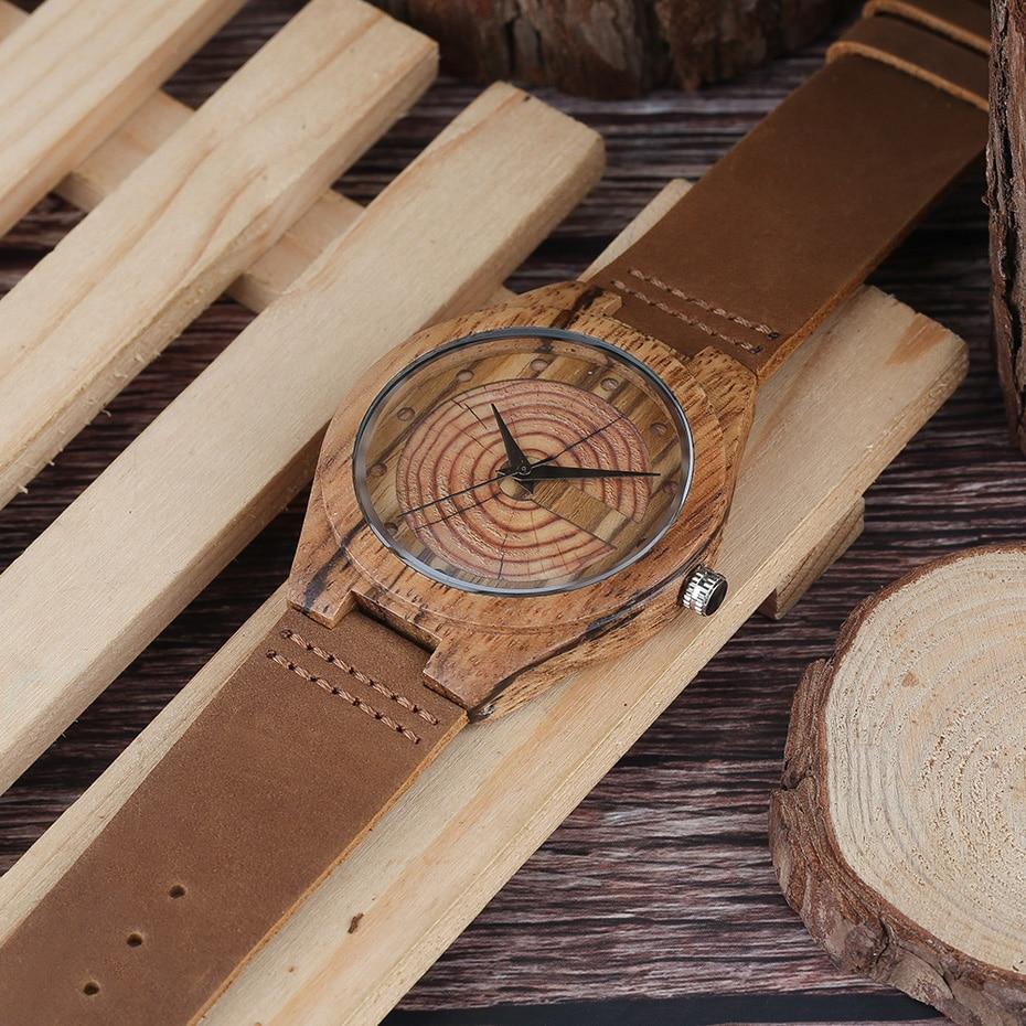 Men`s Wood Watch Handmade Annual Rings Block Points Black Hands Men Quartz Wrist Watches Brown Genuine Leather Starp Sports Hour (11)