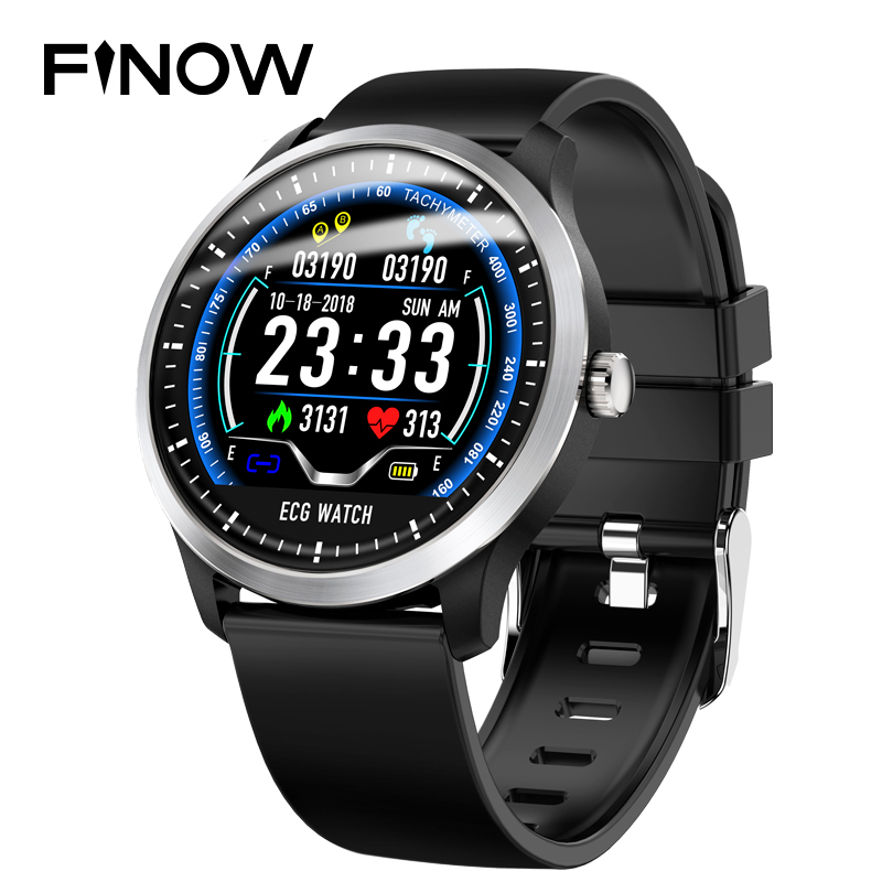 Finow N58 ECG PPG smart watch with electrocardiograph ecg display holter ecg heart rate monitor blood