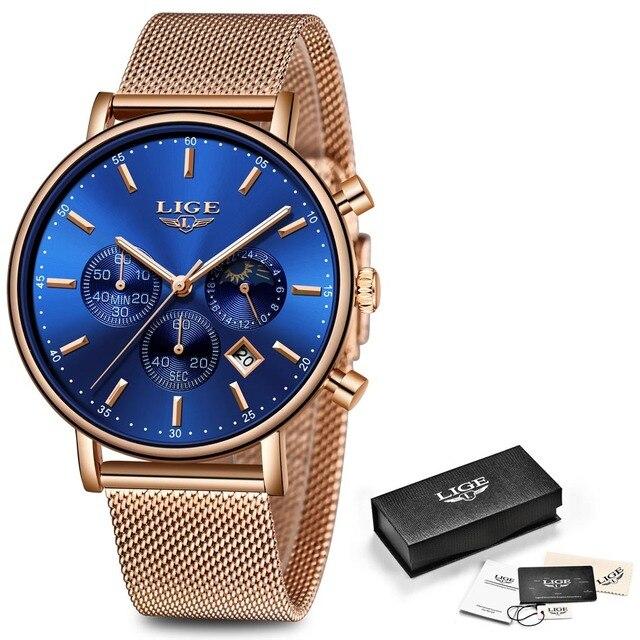 LIGE Fashion Men Watches Male Top Brand Luxury Quartz Watch Men Casual Slim Dress Waterproof Sport WristWatch Relogio Masculino |