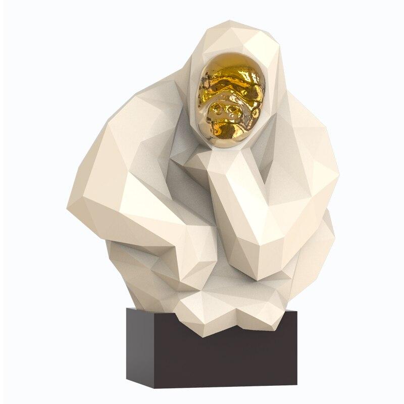 resina geometria abstrata gorila estatuetas para casa decorao sala de artesanato decorao objetos vintage ornamento animal