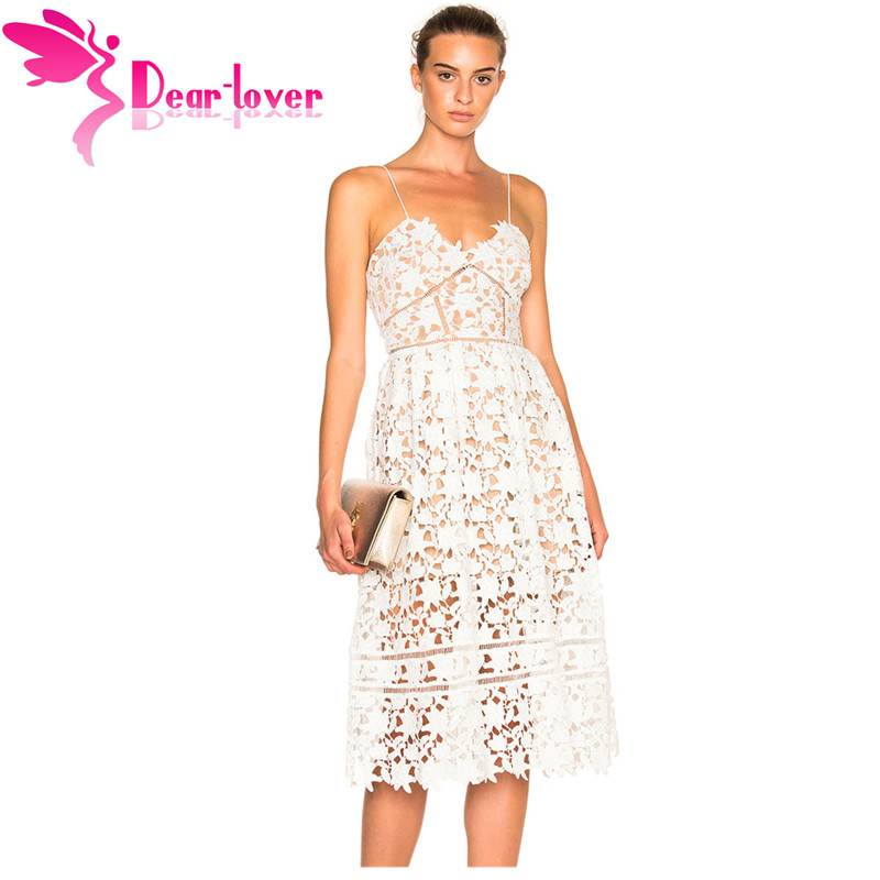 638dfcc3624 Dear Lover Party Dresses Womens Elegant Sexy spaghetti strap Lace Hollow Out  Nude Illusion Mid-Calf Dress Vestido de Renda 61636