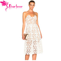 Dear Lover Party Dresses Womens Elegant Sexy spaghetti strap Lace Hollow Out Nude Illusion Mid Calf Dress Vestido de Renda 61636