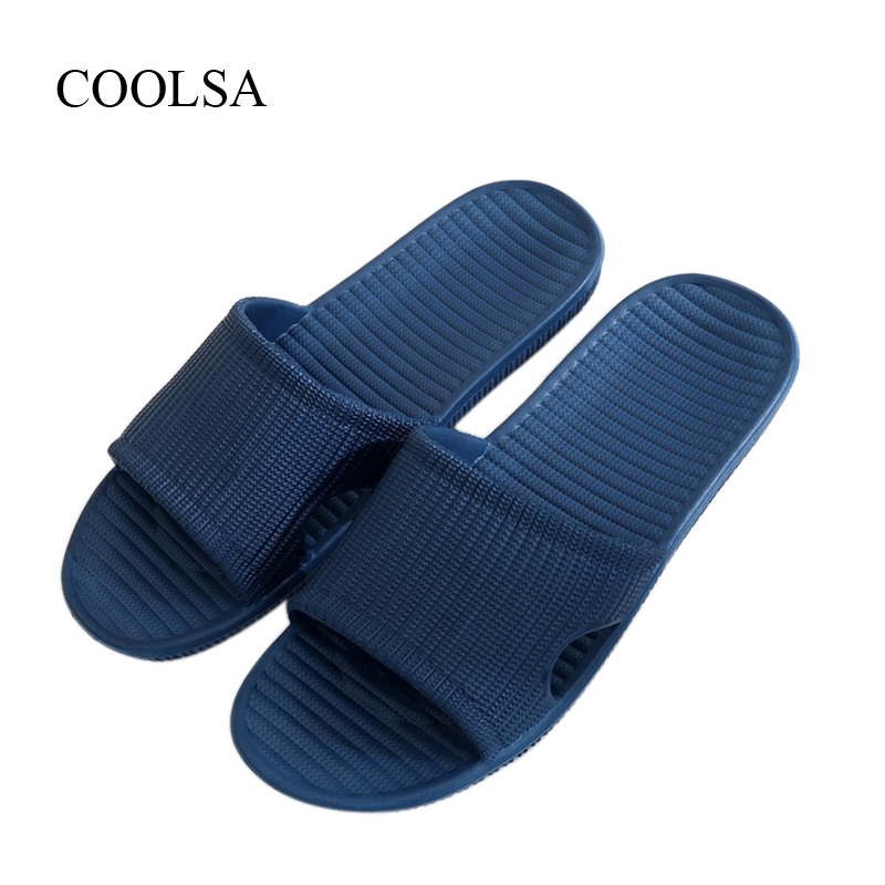 COOLSA Men's Slippers Men's Flat Non-slip Solid Breathable Beach Flip Flops Home Slippers Hot Sale Men's Slides Drop Shipping coolsa new summer linen women slippers fabric eva flat non slip slides linen sandals home slipper lovers casual straw beach shoe