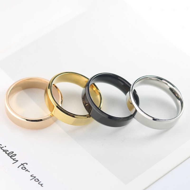 Innopes Glamour Titanium Hitam Sederhana Cincin Emas Anti Alergi Halus Pernikahan Pasangan Cincin Perhiasan untuk Pria atau Wanita Hadiah