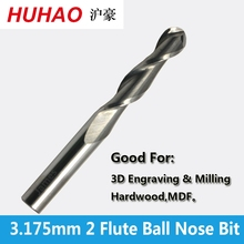 Free Shipping 3.175mm SHK ballnose Two Flutes Spiral End Mills round bottomed Double Flutes Milling Cutter Spiral PVC Cutter