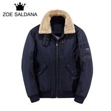 Zoe Saldana  Men Parkas 2017 New Arrival Brand Winter Wool Turn-down Jacket Men Fashion Thickening Slim Casual Coat High Quality