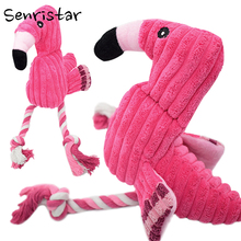 Pet Cotton Rope Bite Chew Plush Flamingo Toys for Small Medium Dogs Soft Fleece Funny Interactive Cats Puppy Dog Toy