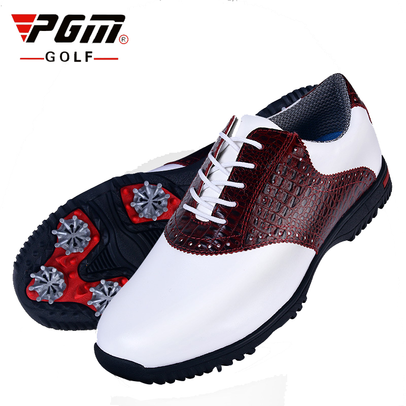 PGM Men Golf Shoes Gentleman Genuine Leather Crocodile Pattern Sneakers Waterproof Sport Shoes Man Professional Grass Golf Shoes pgm authentic golf shoes men waterproof anti skid high quality male sport sneakers breathable shoes