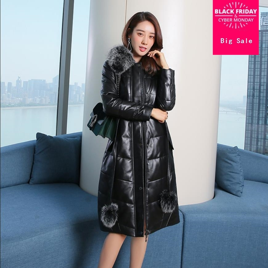 Winter sheep leather fabric big natural fox fur duck down coat female fox fur coat thicker longer warm leather down coats wq520