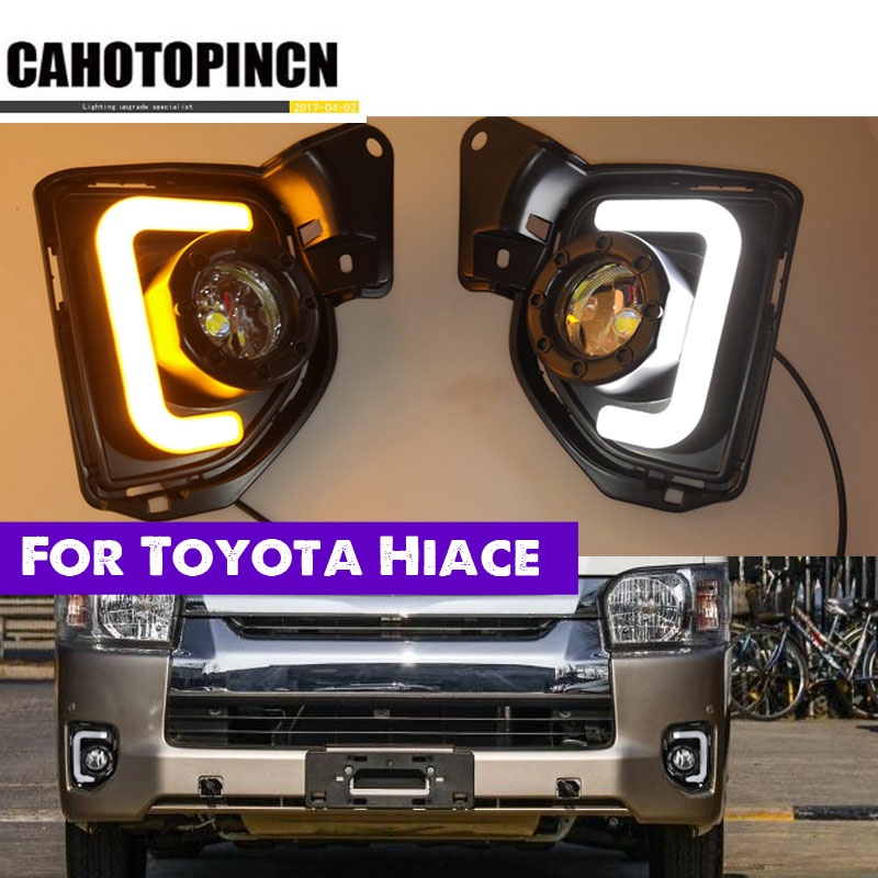 2PCS For Toyota Hiace 2014 2015 2016 2017 2018 12V Car LED DRL Daytime Running Light fog lamp With Turn Signal style relay-in Car Light Assembly from Automobiles & Motorcycles    1