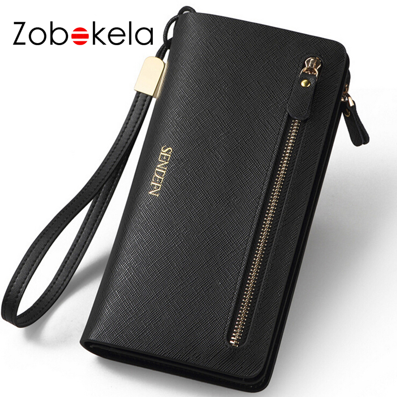 Zobokela Genuine leather wallet womens wallets and purses fashion dollar price long money clip famous brand zipper travel clutch womens wallets and purses famous 2016 fashion money clip wallet women luxury brand matte stitching long clutch free shipping