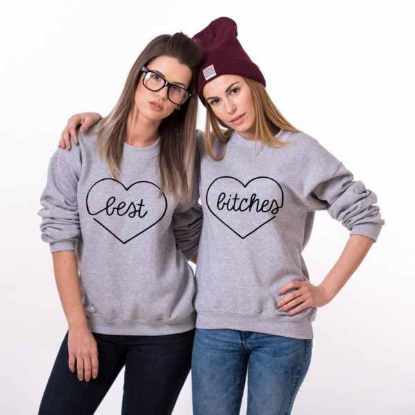 5642eae3d Best Bitches Heart Matching Best Friends Sweatshirts Women Crewneck Sweats Long  Sleeve Tops Female Jumper Outfits