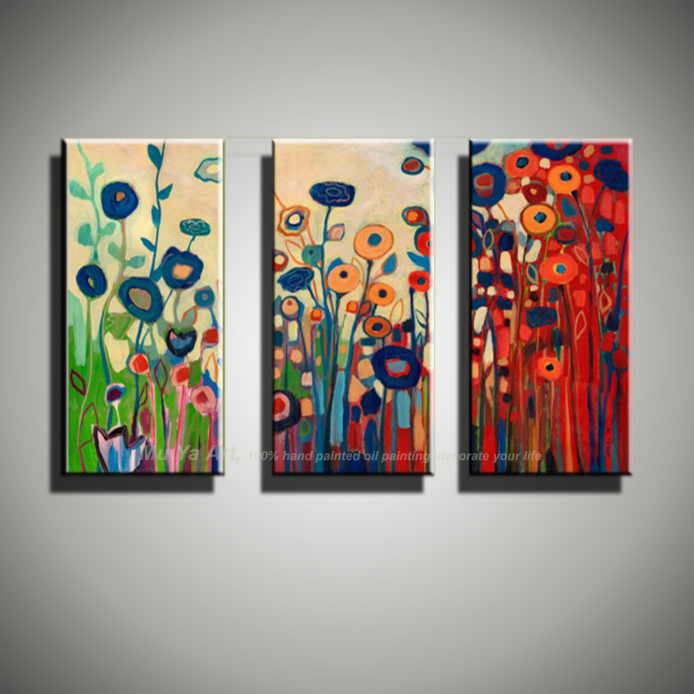 Us 49 0 abstract modern 3 piece canvas wall art floral painting colorful flower oil painting wall picture for living room bedroom in painting