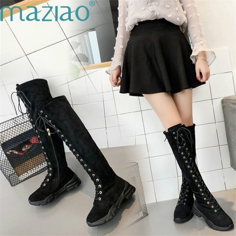 Lace Up Over Knee Boots Women Rome Style Flats Shoes Woman Suede Thigh High Boots  Fur Boots MAZIAO