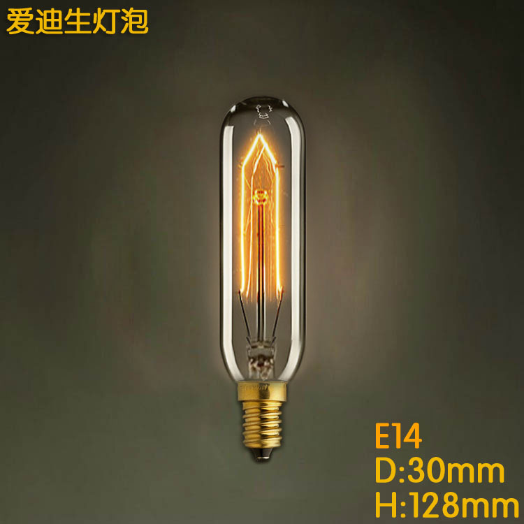 T10 e14 Dimmable 10mm Antique Filament Tungsten tube Edison European American decorative light lamp Incandescent Bulbs 110v 220v