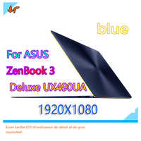 For 14-inch ASUS ZenBook 3 Deluxe UX490UA ux490u UX490UARFHD LCD display screen Blue upper part replacement 1920X1080 resolution