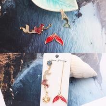 10pcs Mermaid Fishtail Connector Enamel Charms Oil Drop Nautical Fish Alloy Pendants Earring DIY Jewelry Making Accessory FX024 fishtail design bag accessory