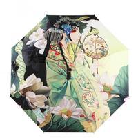 Chinese Style Oil Painting Umbrella 3 Fold Women Sunshade and Windproof Rain Umbrellas for Sale Anti UV Sun Parasol