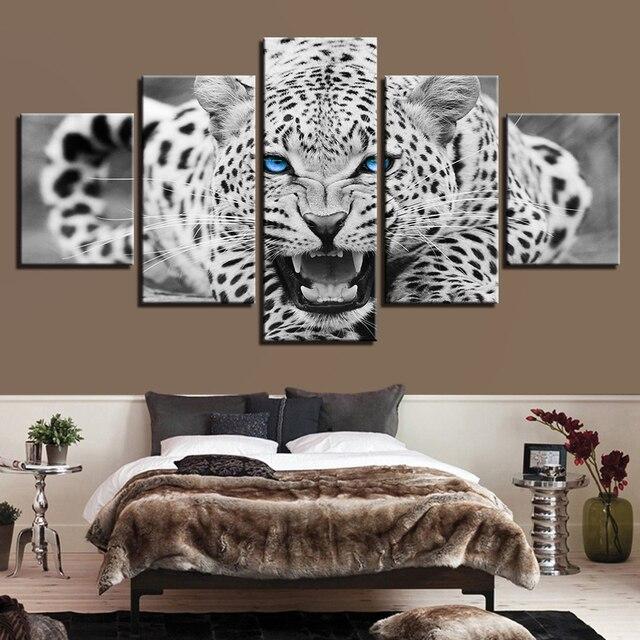 אמנות קיר הדפסי HD תמונות Frameless5 חתיכות עיניים כחולות ציורי בד נמר נמר בעלי החיים עיצוב בית בשחור ולבן פוסטר