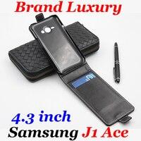 Für Samsung J1 Ace Fall Marke Luxury Leder Flip Vertikale Für Galaxy J 1 Ace J110 SamsungJ1Ace Abdeckung Business-art-mappen Slot