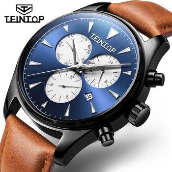 TEINTOP 2019 nouveau Sport Racing Design marron cuir bleu 3 cadran armée mécanique hommes automatique montre-bracelet Top marque de luxe horloge