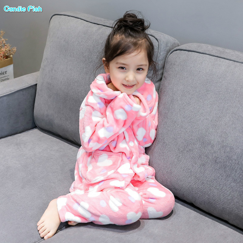 Girls suit home service 2017 winter new Korean children coral cashmere warm long-sleeved pajamas suit