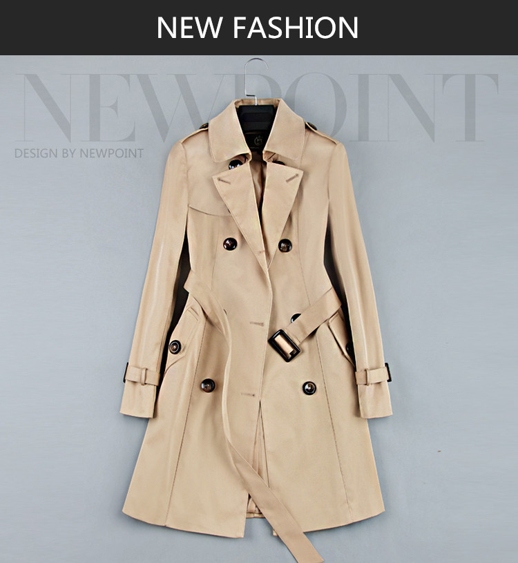 19 New Fashion Double Breasted Mid-long Trench Coat Women Khaki Slim Belt Cloak Mujer Windbreaker Female Abrigos Brazil LH810 1