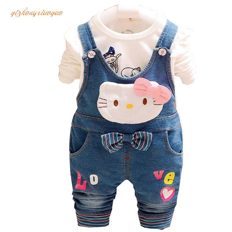 De lente en herfst kinderen overall jeans jeans pasgeboren baby - Kinderkleding