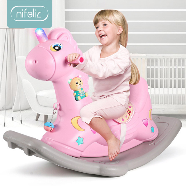 2 in 1 Children Rocking Horse Thickening Plastic Ride on Animal Toys Rocking Horse with Safety Harness Seat Music Baby