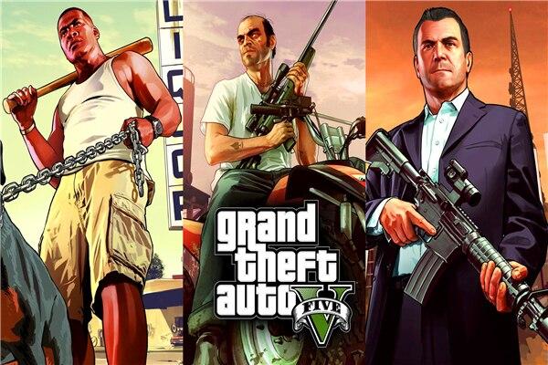 Custom Canvas Art Grand Theft Auto Poster GTA 5 San Andreas Game Wallpaper Trinity Michael Wall