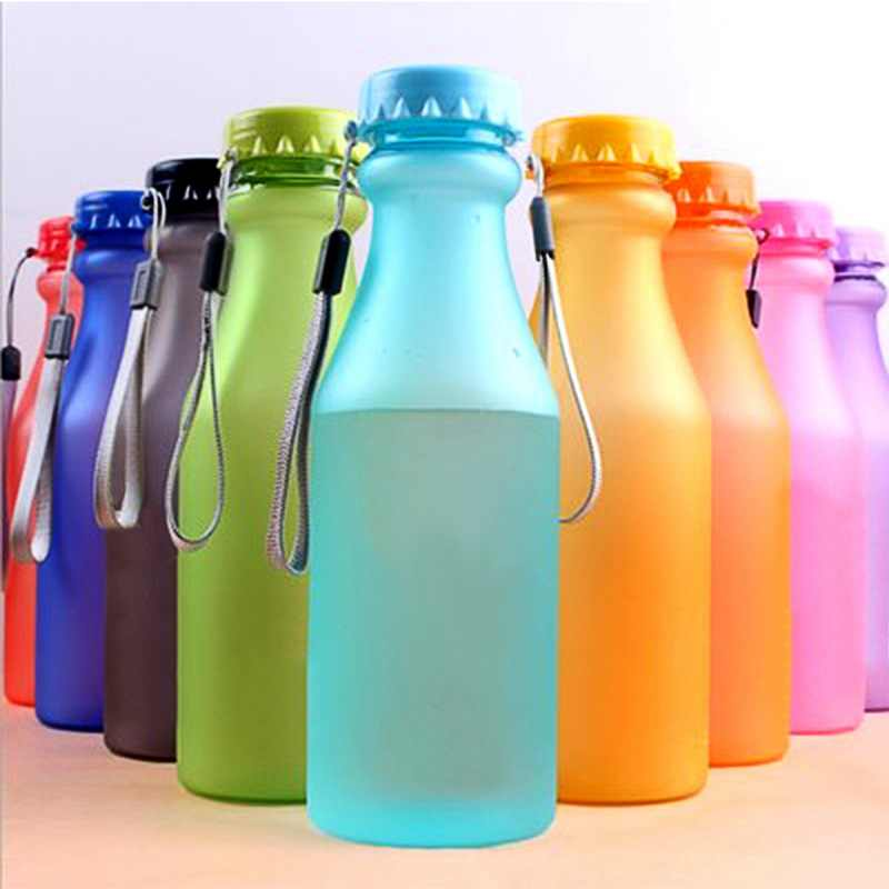 Urijk 550ml Plastic Sports Bottles For Water Leak-Proof Yoga Gym Fitness Shaker Water Bottle Fit Students Unbreakable Bottle