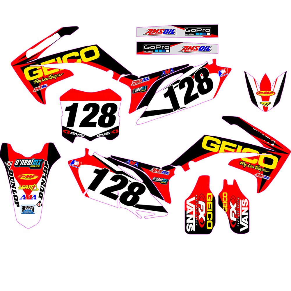 Customized Number Gloss GRAPHICS BACKGROUNDS DECAL STICKER for Honda CRF250R CRF250 2010 2011 2012 2013