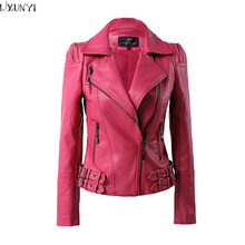 Spring 2017 leather jacket Women Korean Fashion Hasp leather Coat Brand Big Size Shorts Faux Leather Jackets Autumn 2XL 3XL 4XL
