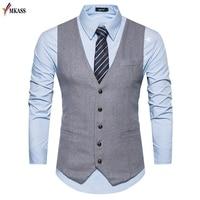 Men Vests Suit V neck Business Vest Wedding Formal gilet homme Men Classic Vest Waistcoat Coletes kingsman costume S XXL