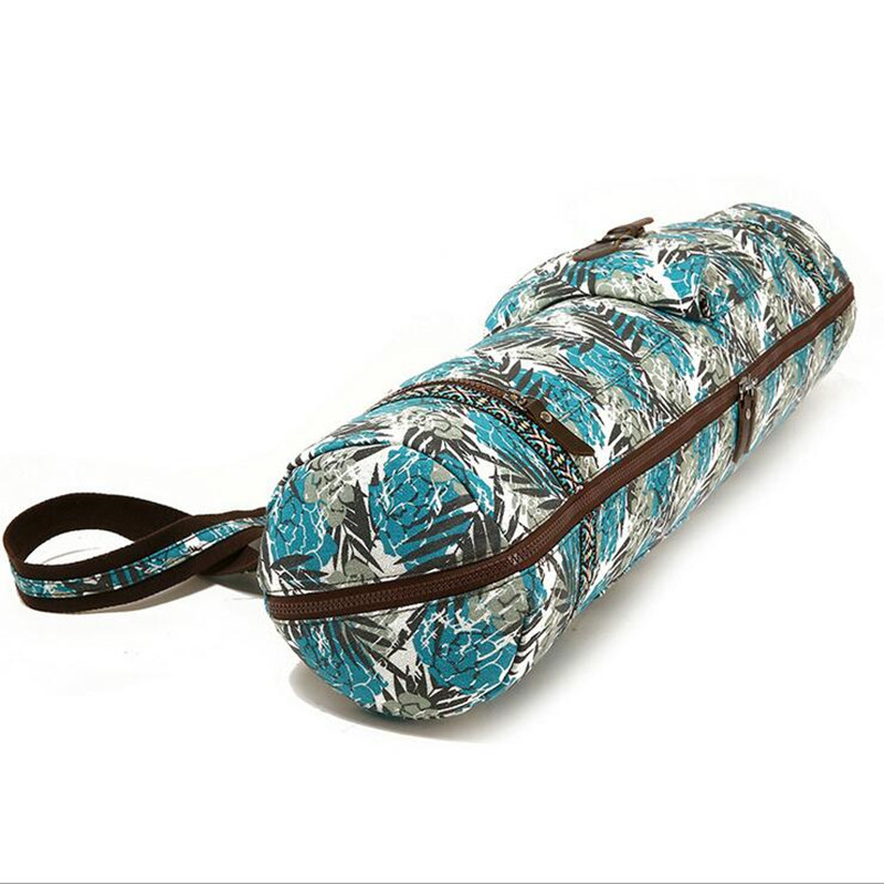 Ladies <font><b>Yoga</b></font> Mat Bag Print Style Canvas Large Capacity Waterproof Pilates Pad Bag Fitness Backpack Sports Gym Pack <font><b>Yoga</b></font> Mats Bag