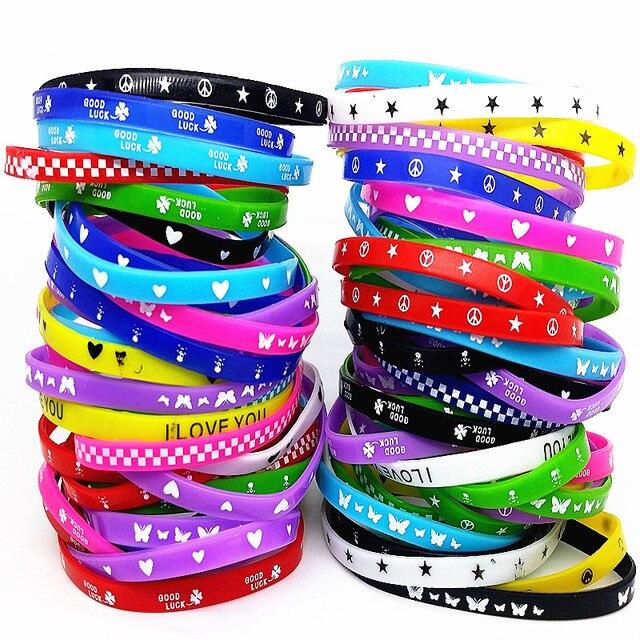 100Pcs Kids Siliconen Armband Polsbandje Kinderen Jongen Meisje Diverse Kleuren Liefde Bangle Familie Party Gift Mix Stijlen Groothandel