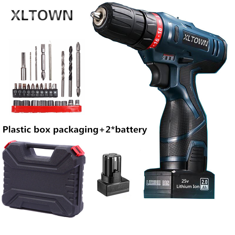 Xltown 25v two-speed 2*battery lithium battery electric screwdriver with a Plastic box packaging 27pcs drill bit electric drill free shipping 48v 15ah battery pack lithium ion motor bike electric 48v scooters with 30a bms 2a charger