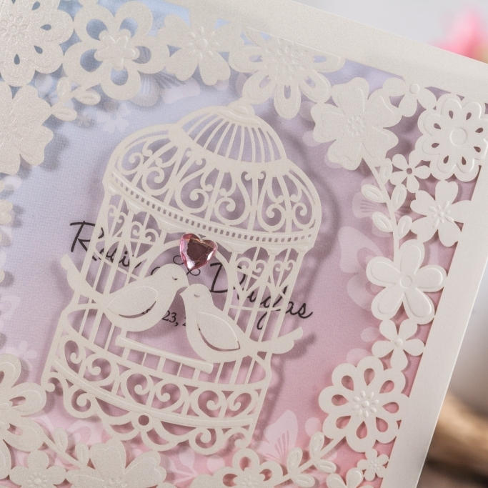 Cheap Invitation Cards with Birdcage Design Wedding Cards Laser