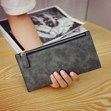 Scrub Matte Long Wallet Women Luxury Brand telephone bag Womens Wallets And Purses Leather Clutches Solid Zipper