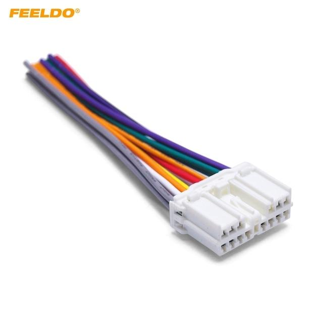 us $1 78 21% off feeldo 1pc car audio stereo wiring harness adapter plug for mitsubishi grand pajero lioncel joyear oem factory radio tail wire in  mitsubishi audio wire harness #3