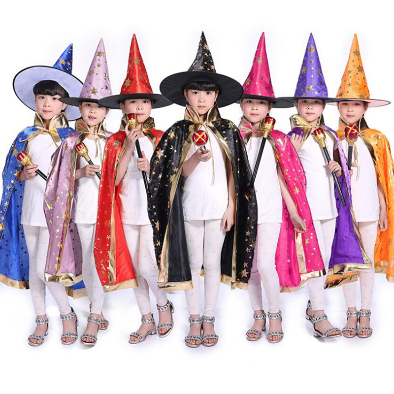 wholesale 6pcs/lot Kids Happy Halloween Costume Set Wizard Witch Cloak Cape Robe and Hat for Boy Girl