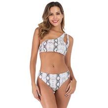 Модный Купальник для беременных, купальник из двух частей на одно плечо со змеиным принтом, женская одежда, S-L, yi50
