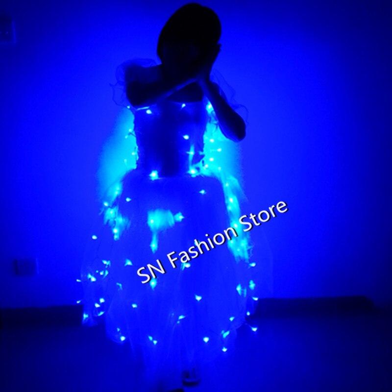 M1130 파티 볼룸 댄스 의상 Led 가벼운 의상 무대 옷 발광 스커트 발레 파티 코스프레 웨딩 바 DJ 디스코 드레스